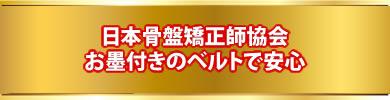 日本骨盤矯正師協会 お墨付きのベルトで安心